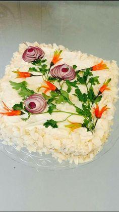 Tandori chicken cake - For Woman Tandori Chicken, Chicken Cake, Food Carving, Vegetable Carving, Good Food, Yummy Food, Food Garnishes, Garnishing, Sandwich Cake