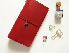 Mystery Red - Top Grain Leather Standard Size Midori Refillable Leather Journal
