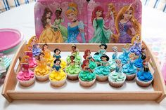 disney princess I have made these Disney princess cupcakes twice over the past few months. Once for the girls I babysit and once for my friend's daughter, who just turned four. Just ab Disney Princess Birthday Party, Disney Princess Party, Princess Party Cupcakes, Princess Cakes, Disney Themed Party, Disney Princess Cookies, Princess Party Games, Princess Sophia, Cinderella Party