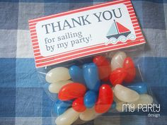 Nautical Party - PRINTABLE Thank you Tags / Treat bag labels boy red blue stripes boat diy digital pdf