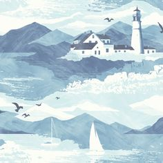 Lighthouse Blue Nautical Wallpaper | Departments | DIY at B&Q