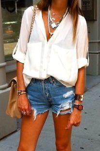 Cutoffs / white chiffon top / lots of jewelry / tan skinny legs!