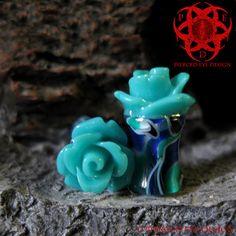 6g 4g 2g Teal Rose Flower Swirl Ear Plugs by PiercedEyeDesign