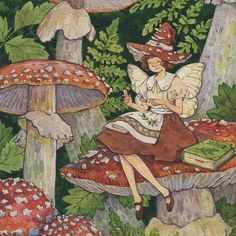 Pretty Art, Cute Art, Photo Chat, Mushroom Art, Fairytale Art, Fairy Art, Aesthetic Art, Cute Drawings, Collage Art