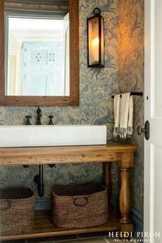 Love a lot about this-side lighting side table turned vanity long sink dark hard. Love a lot about this-side lighting side table turned vanity long sink dark hardware basket storage underneath Farmh Vintage Bathroom Sinks, Wooden Bathroom, Small Bathroom, Bathroom Vanities, Master Bathroom, Edwardian Bathroom, Industrial Bathroom Vanity, Bathroom Table, Bathroom Cabinets