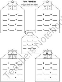 Addition/Subtraction Fact Family Pattern Practice product from CreatedForLearning on TeachersNotebook.com