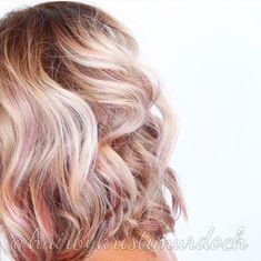 Rose gold, rose gold hair color, rose gold balayage, balayage, pink balayage, Olaplex, lob, long bob, tousled bob, beach waves, blonde balayage, kristi murdoch, Aveda, salon Tru, hank and ax a salon