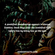 A zombified Abomination appears in Marvel Zombies: Dead Days after the zombified Hulk infects him by biting him on the arm. #abomination #tvshow #theavengers #comics #marvelcomics #interesting #fact #facts #trivia #superheroes #memes #1 #movies #villains #villain