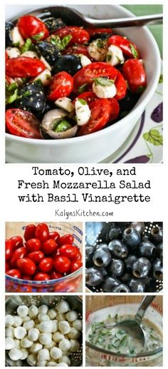 Tomato, Olive, and Fresh Mozzarella Salad with Basil Vinaigrette is the perfect easy and delicious salad for any summer holiday get-together! This salad is always a hit! #LowCarb #GlutenFree #SouthBeachDiet [from KalynsKitchen.com]
