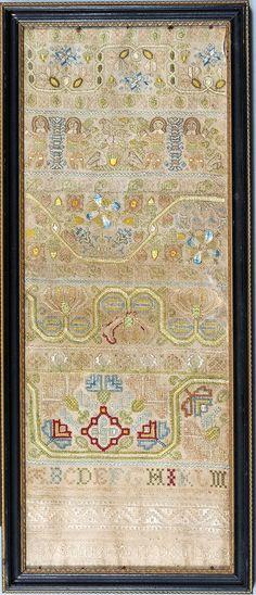 $6,500 SUSANNA WEEDON English antique needlework band sampler dated   1662 from Huber