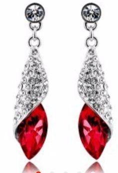 00ade18f8 Silver Plated Luxury Brand Women Geometric Crystal Tear Drop Long Earrings  Charm Romantic Brincos (Red).