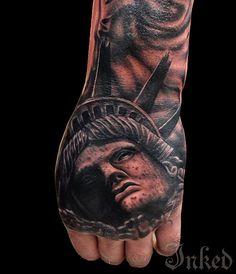 Lady Liberty by Drew Apicture #InkedMagazine #tattoo #Liberty #tattoos #Inked #ink #art