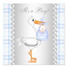 Pearls Blue Gingham Stork Baby Shower Announcements