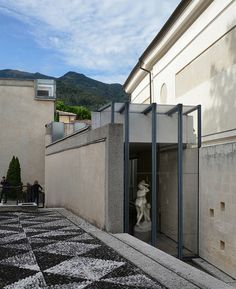 carlo scarpa, architect: gipsoteca del canova, extension of the canova museum in possagno, italy 1955-1957. view from the south.
