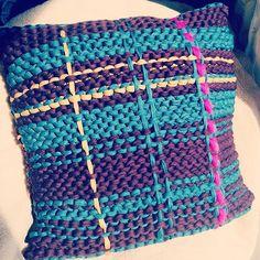 "@laineycaulfield's photo: ""My first ever #design !! #cushion #tartan #fabricyarn #jerseybegood #crazysexywool #ShareYourKnits #madeunique #softfurnishings #handknit #handknityourhome #crafting #diy"""