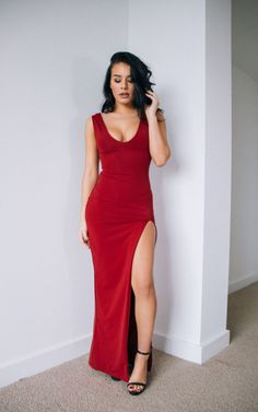 Robyn Red Slit Leg Maxi Dress - SilkFred