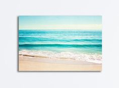 Ocean Canvas Gallery Wrap, large beach landscape wall art aqua blue print teal turquoise cream sea c Beach Canvas Art, Ocean Canvas, Beach Wall Art, Canvas Wall Art, Canvas Prints, Beach Landscape, Landscape Walls, Ocean Scenes, Beach Scenes
