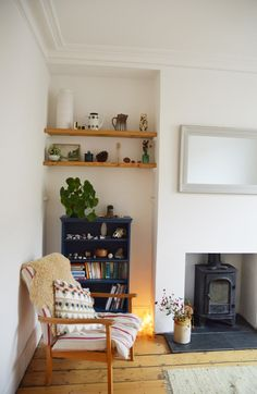 Cosy 70's styling (shag rugs to crockery) design by Lou at Little Green Shed. Upcycling furniture with Farrow & Ball.