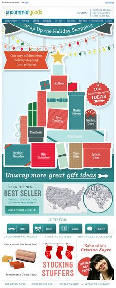 Uncommon Goods >> sent 12/1/12 >> Gifts that Stack Up >> There are so many things I enjoy about this email. The animated holiday lights at the top are a delight in the preview pane – super playful, yet subtle. Slightly lower in the email, the gift tree is helpful and eye-catching with category links for different personalities and family members. All of that plus the variety of textures and shapes make this one of my favorite holiday emails from 2012. —Anna Meier, Design Consultant…