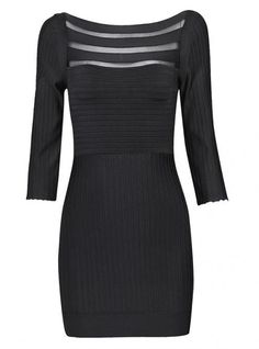 Black Long Sleeve Stripe Slim Dress H428