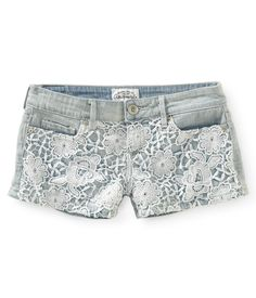 Crochet-Front Denim Shorts from Aéropostale