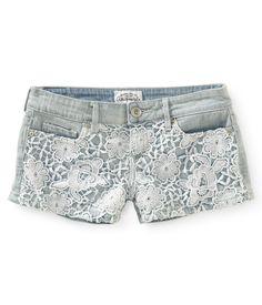 Crochet-Front Denim Shorts from Aéropostale
