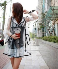 Women's Girls Men Black Vinyl Transparent Raincoat Runway Fation Clear Rain Coat #UNbrand #Raincoat