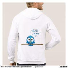 Blue twitter bird talking name man's hoodie