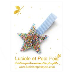 Superb star resin glitter #hairclip mounted on a color aligator clip. Approximately 6 cm.