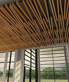 Tavola Divergent by Hunter Douglas --- As part of the four new products released by Hunter Douglas under the Tavola beam and baffle ceiling series, the Divergent ceiling system allows configuration of non-parallel, diverging beams. The series features a range of finishes—including real wood veneer options—GREENGUARD Gold Certification, sustainable construction, and six customizable perforation patterns to elevate acoustical performance.