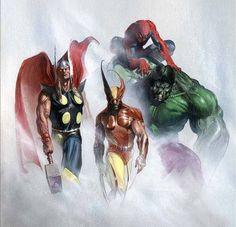 Marvel Heroes: Thor, Wolverine, Spider-Man, Incredible Hulk By Gabriele Dell'Otto #Comics #Illustration #Drawing