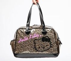 Hello Kitty Overnight Bag: Glitter Leopard