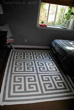 Ikea Hack painted greek key rug room