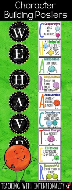 This adorable character building poster set is awesome for displaying all the important traits we want to instill in our students throughout the year.  It's perfect for any classroom bulletin board, counselor's office, or school bulletin board display promoting character education.