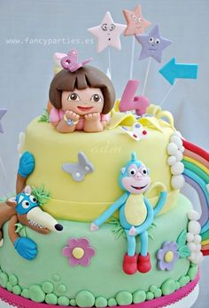 dora the explorer cake with boots | dora boots and swiper cake 11 birthday cake for the dora the explorer ...