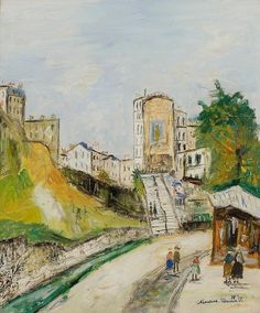 Maurice Utrillo Avenue Junot à Montmartre, Modigliani, Maurice Utrillo, Post Impressionism, Manet, Medieval Town, French Artists, France, Fine Art, Painting