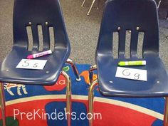 Musical Letters This is a fun game we play if the children are interested in writing letters. We place the chairs in a circle, and I place a letter on each chair. While the music plays, children march around the circle holding a clipboard with paper or a dry erase board. When the music stops, they must find the closest chair, and write that letter on their paper or dry erase board.