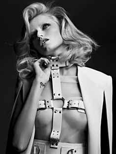 Abbey Lee Kershaw covers the April issue of Vogue Russia. Lensed by Hedi Slimane with styling by Sarah Richardson, Abbey plays bondage vixen in the cover shoot… Abbey Lee Kershaw, Celine, Saint Laurent, Sarah Richardson, Hedi Slimane, Mode Editorials, Fashion Editorials, Leather Harness, Fashion Designer
