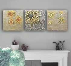 Abstract Metallic Heavy Textured Painting Contemporary Art Triptych Palette Knife Art Silver Gold Painting Modern Wall Decor by Nata S. Texture Art, Texture Painting, Modern Wall Decor, Wall Art Decor, Aluminum Foil Art, Office Wall Art, Home Office, Turquoise Painting, White Art