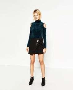 VELVET CUT-OUT SHOULDER SWEATER-Tops-KNITWEAR-WOMAN | ZARA United States