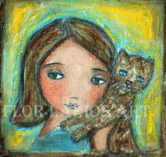 Girl with Cat  Folk Art  Print from Painting 6 x 625 by FlorLarios, $15.00