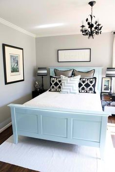 Love the baby blue paired with the gray walls.