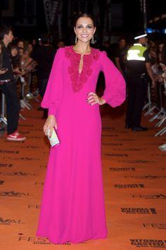 Hot Pink Long Sleeves Gown worn by Paula Echevarria