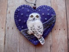 Snowy Owl Ornament in Violet  Made to Order by SandhraLee on Etsy, $19.50