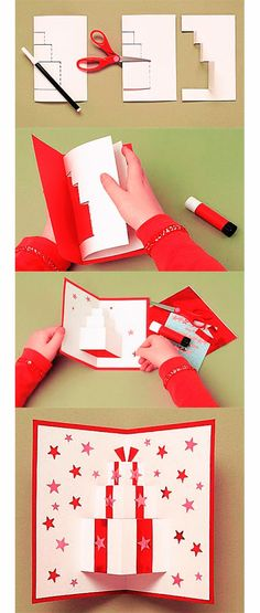 Diy Gift Crafts - Beautiful creative greeting cards for Christmas. - Diy Gift Crafts – Beautiful creative greeting cards for Christmas. Diy Christmas Cards, Christmas Art, Christmas Decorations, Diy And Crafts, Crafts For Kids, Paper Crafts, Gift Crafts, Pop Up Cards, Card Tutorials