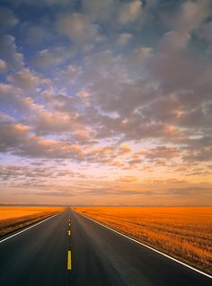 Beautiful prairie highways!  Highway and stubble field and distant mountains, near High River, Alberta, Canada