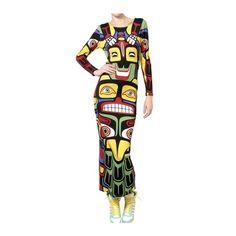 ADIDAS BY JEREMY SCOTT Totem Printed Jersey Long Dress ($340) ❤ liked on Polyvore