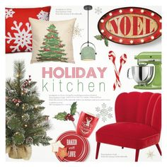 """❄ Holiday Kitchen Decor 🍷"" by alexandrazeres ❤ liked on Polyvore featuring interior, interiors, interior design, home, home decor, interior decorating, Lands' End, Pillow Perfect, Peking Handicraft and KitchenAid"
