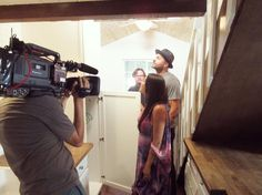 Some #BehindTheScenes photos from tonight's 2nd ALL NEW ep. of #TinyHouseHunters! This #bohemian family is going way tiny!  Are you ready for 2 back-to-back episodes of Tiny House Hunters on @HGTV starting at 5pm | 4c?!?! . . . . . . . . #hgtv #tinyhouseliving #tinyhousemovement #tinyhouse #tinyhouselove #cameracrew #set #setlife #onset #television #tv #tvshows #kitchendesign #kitchen #butcherblock #cabinets #storage #staircase #canon #agent #realestate #realestateagent