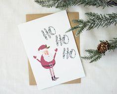 Santa Claus Ho Ho Ho    Whimsical Christmas Card    Holiday Greetings    Size A7    Fun Card For Kids    Modern Greeting Card